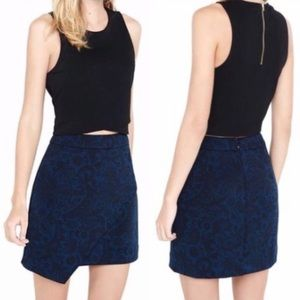 Express • Asymmetrical High Waisted Blue Skirt